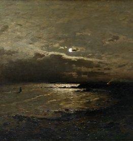 Axel Nordgren (1828 - 1888) » Öl-Gemälde Naturalismus Skandinavien Meer Mond nächtliche Küstenlandschaft Düsseldorfer Malerschule