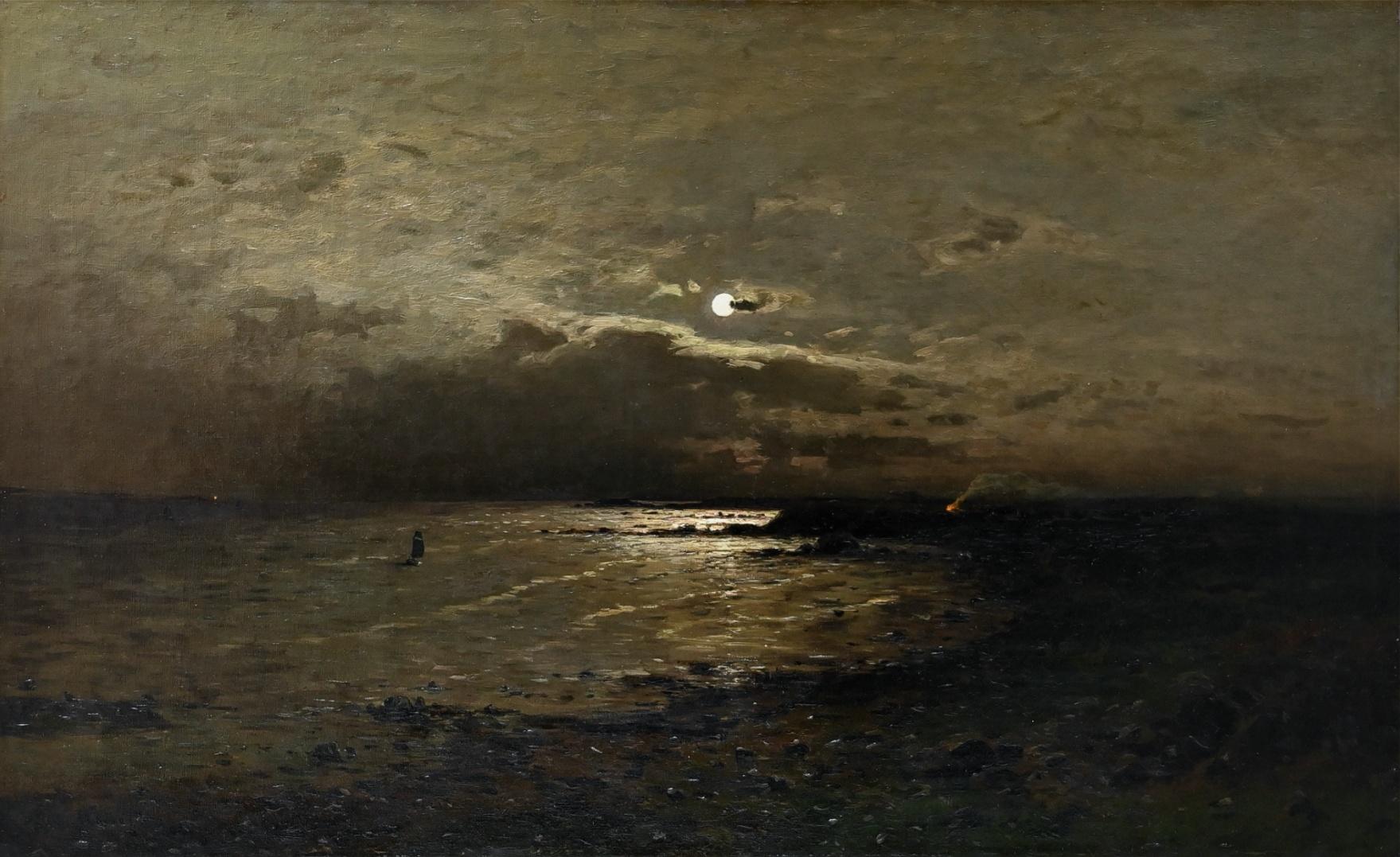 Axel Nordgren (1828 - 1888) » Öl-Gemälde Naturalismus Skandinavien Meer Mond nächtliche Küstnlandschaft Düsseldorfer Malerschule