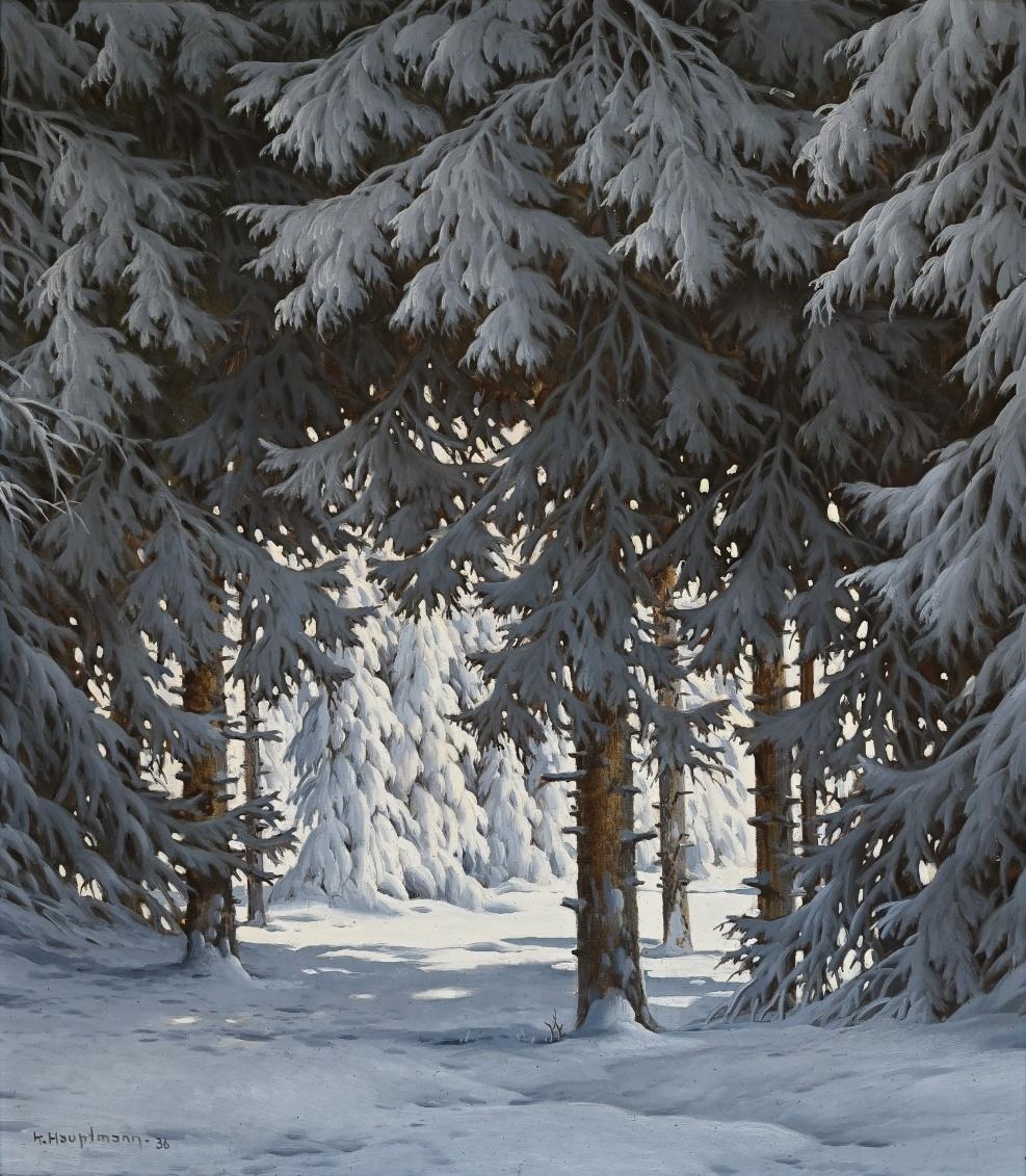 Karl Hauptmann (1880 - 1947) » Öl-Gemälde Winter Landschaft