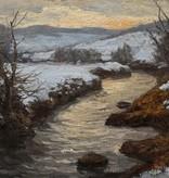 Ferdinand Zix (1864 - 1942) » Öl-Gemälde schwäbischer Impressionismus Winter Landschaft