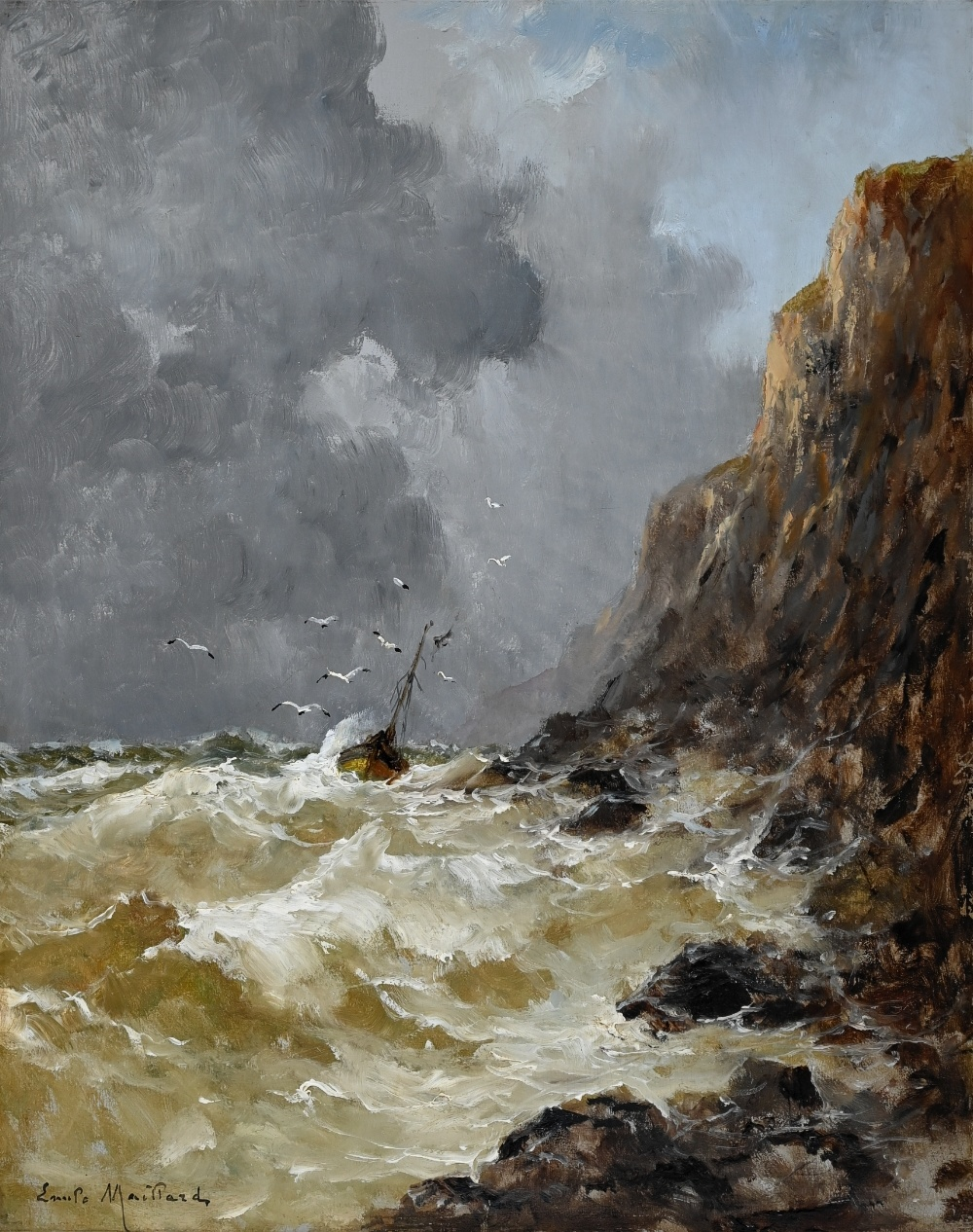 Emile Maillard (1846 - 1926) » Öl-Gemälde Marinemalerei Realismus Impressionismus Frankreich französische Schule