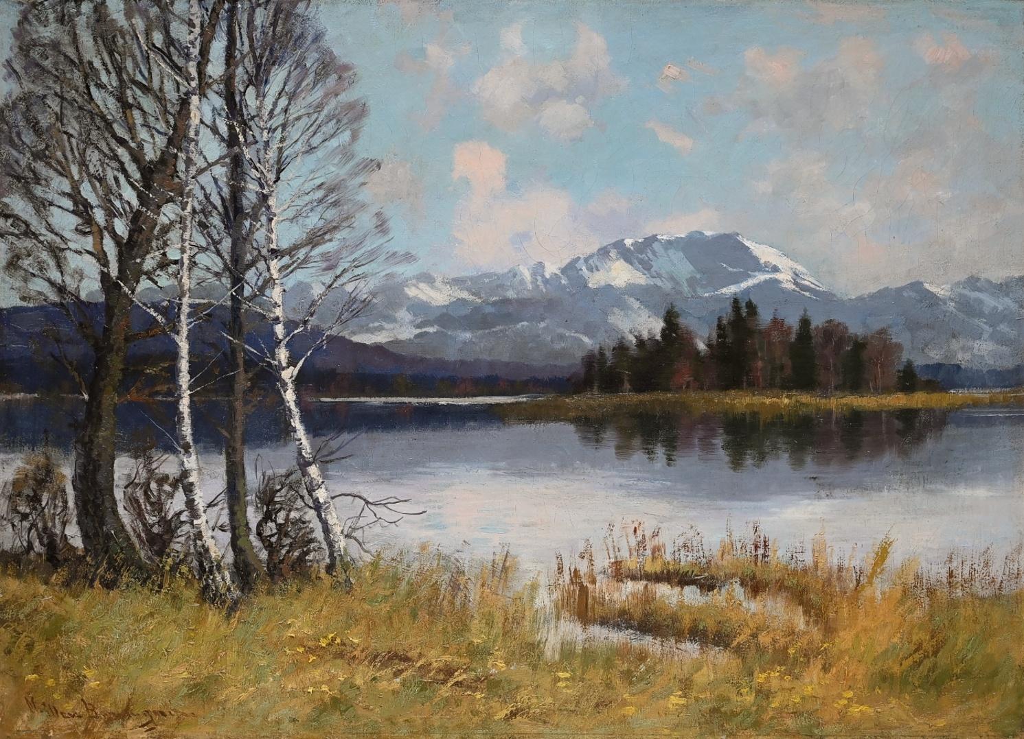 Carl Müller-Baumgarten (1879 - 1946) » Öl-Gemälde Impressionismus Voralpenlandschaft Chiemsee süddeutsche Malerei
