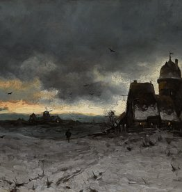Joseph Heydendahl (1844 - 1906) » Öl-Gemälde Spätromantik  Winter Landschaft Düsseldorfer Malerschule