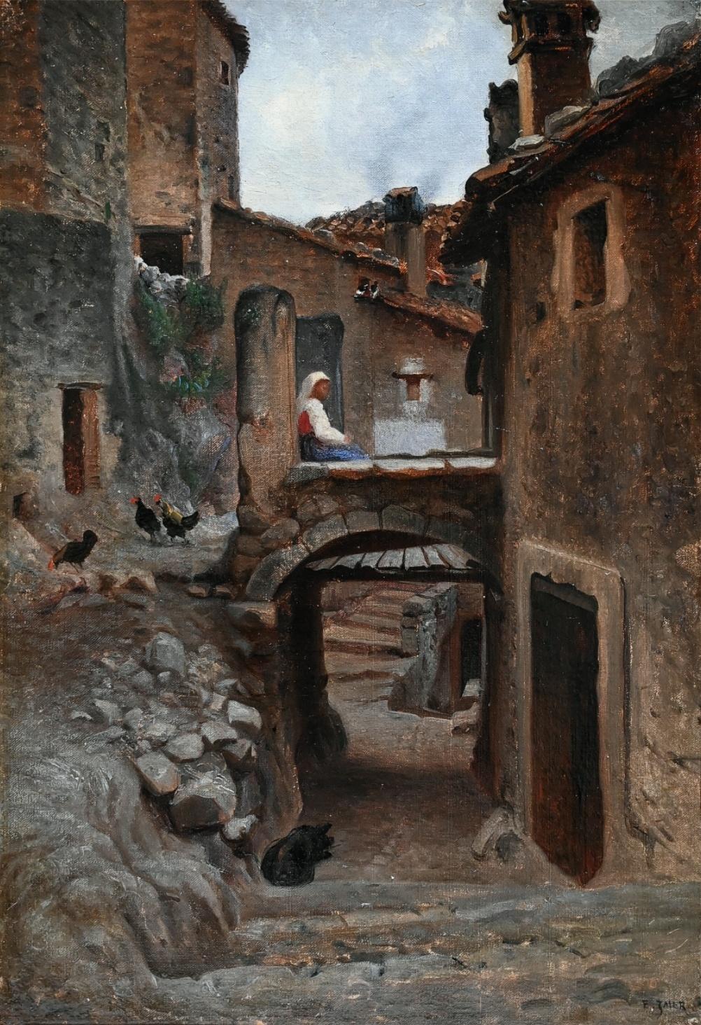 Édouard-Auguste Imer (1820 - 1881) » Öl-Gemälde Realismus Italien Stadt französische Schule