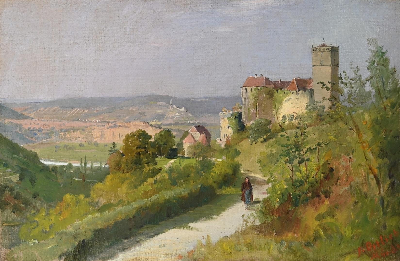 Friedrich Ortlieb (1838 - 1909) » Öl-Gemälde Realismus Impressionismus Landschaft Burg Schloss süddeutsche Malerei