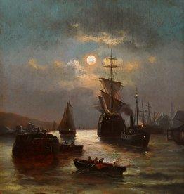 Adolph Kreutzer (Maler des 19. Jahrhunderts) » Öl-Gemälde Spätromantik Meer Mond nächtliche Küstenlandschaft Düsseldorfer Malerschule