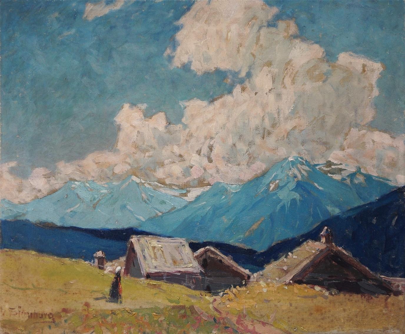 Hertha Georgi von Sternburg (1883 - 1945) »  Öl-Gemälde Impressionismus Alpen Landschaft