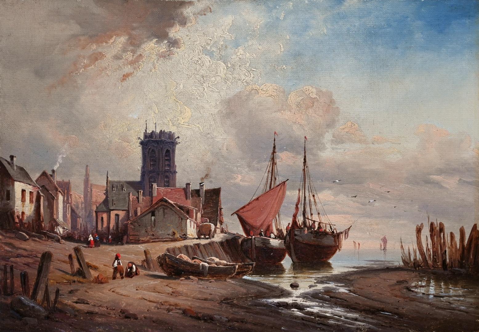 Maler des 19. Jahrhunderts » Öl-Gemälde Spätromantik Hafen Küstenlandschaft Meer