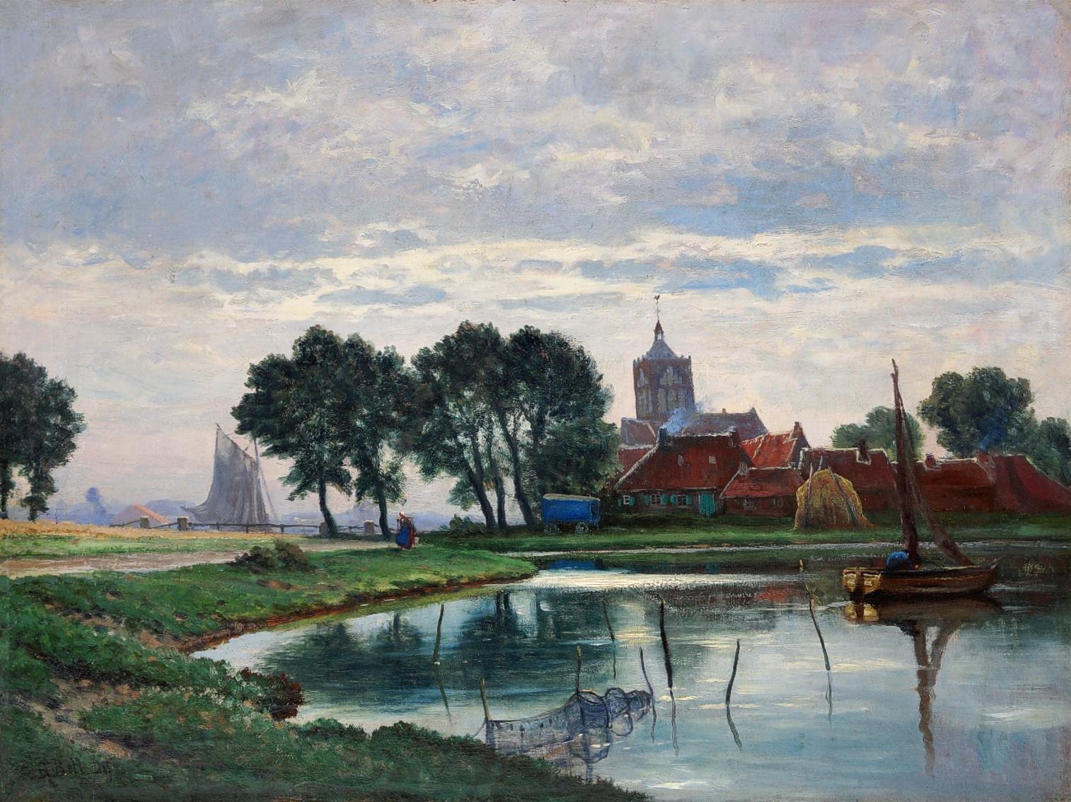 Arthur Bell (1876 - 1966) » Öl-Gemälde Impressionismus norddeutsche Landschaft Düsseldorfer Malerschule