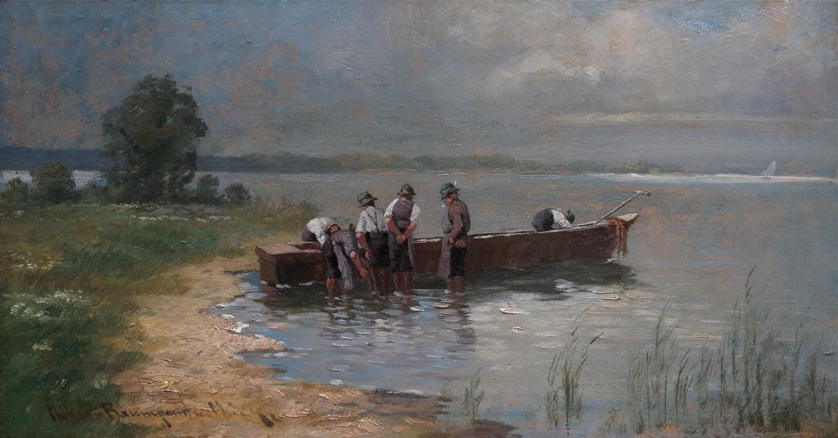 Carl Müller-Baumgarten (1879 - 1946) » Öl-Gemälde  Voralpenlandschaft Chiemsee-Malerei Landschaft Münchner Malerschule süddeutsche Malerei