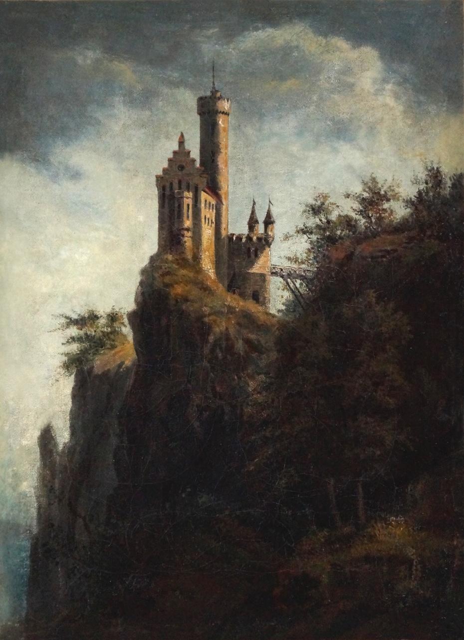 Maler des 19. Jahrhunderts  » Öl-Gemälde Romantik Rheinromantik Burg Schloss Landschaft Düsseldorfer Malerschule