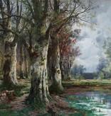 Maler des 19. Jahrhunderts » Öl-Gemälde Wald Landschaft österreichische Schule