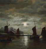 Maler des 19. Jahrhunderts » Öl-Gemälde Spätromantik Mond Meer Küstenlandschaft