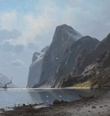 Eduard Hein jr. (1854 - 1918) » Öl-Gemälde Fjord Landschaft norwegische Küstenlandschaft Düsseldorfer Malerschule