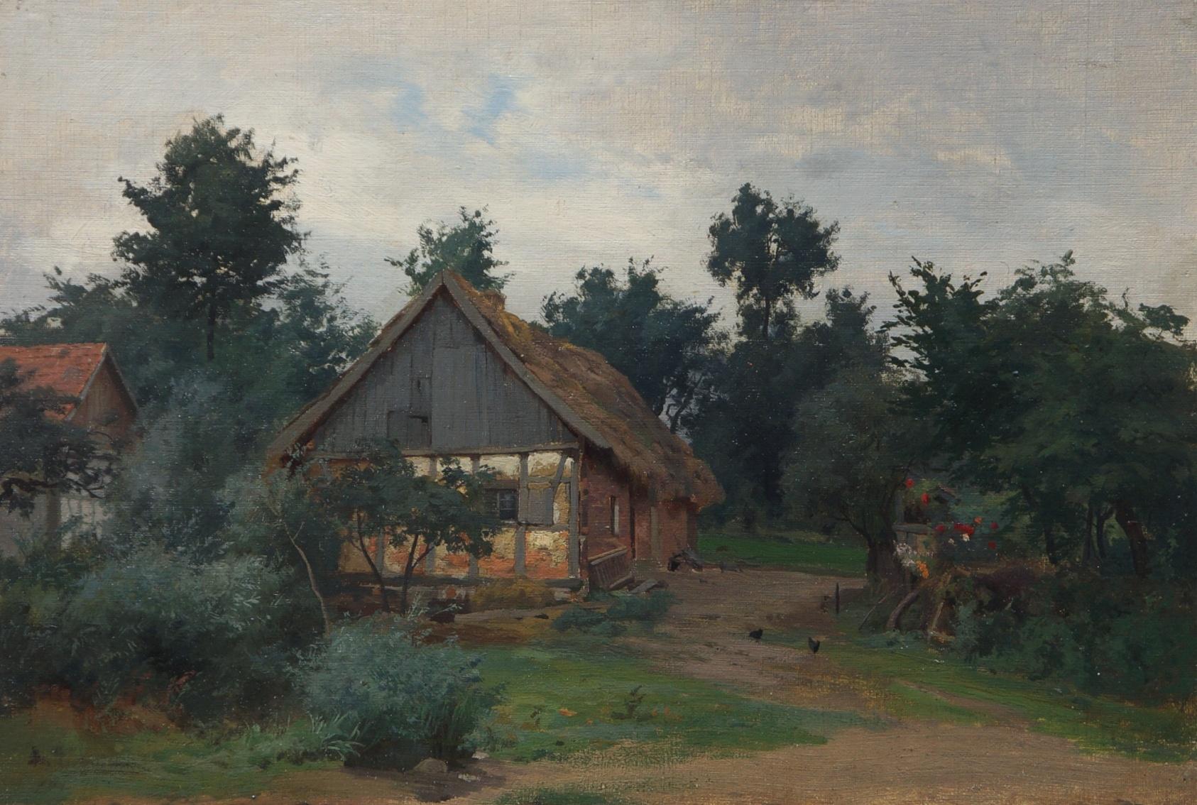 Moritz Erdmann (1845 - 1919) » Öl-Gemälde Realismus Bauernhof Landschaft