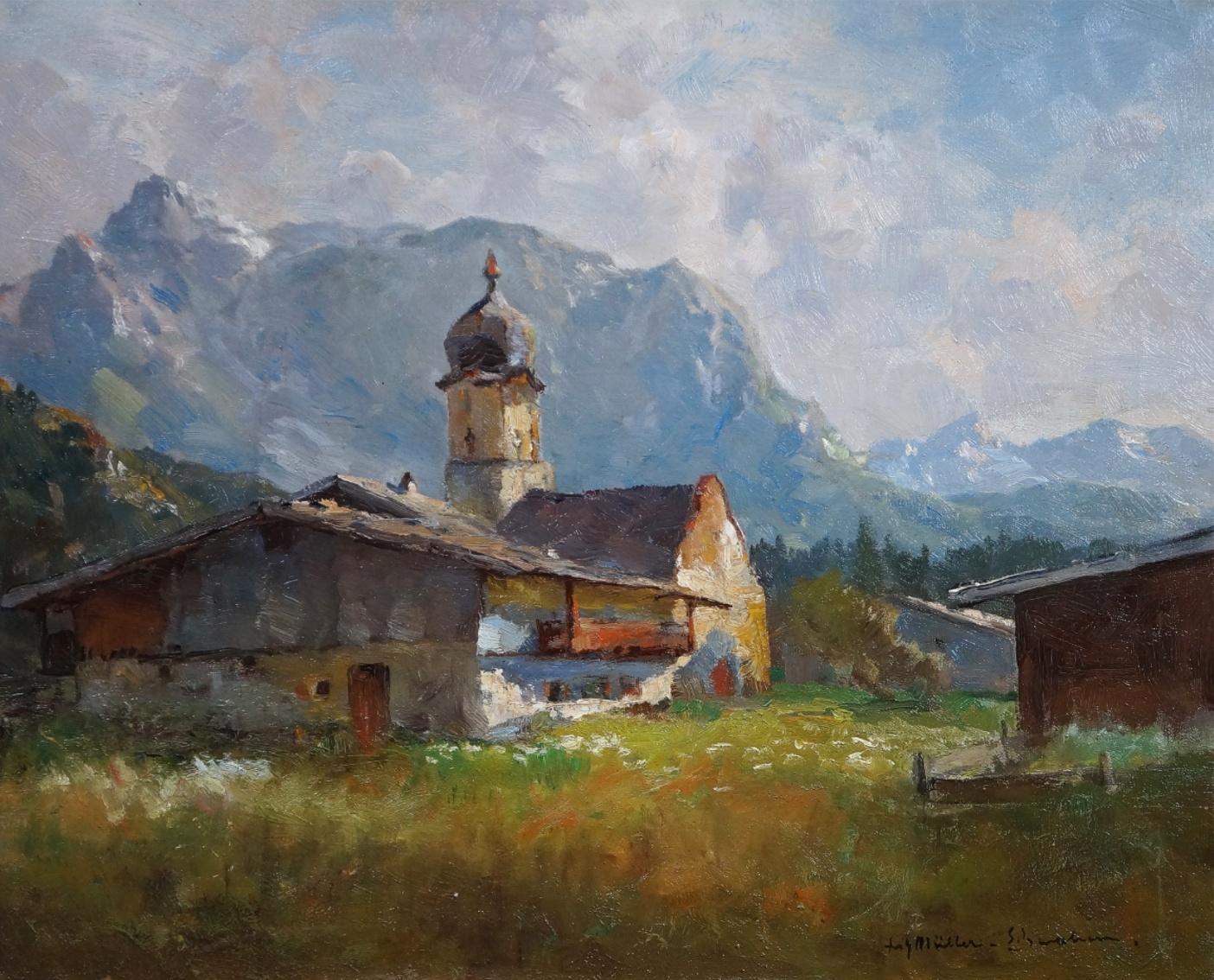 Fritz Müller-Schwaben (1879 - 1957) » Öl-Gemälde Impressionismus Alpen Landschaft süddeutsche Malerei