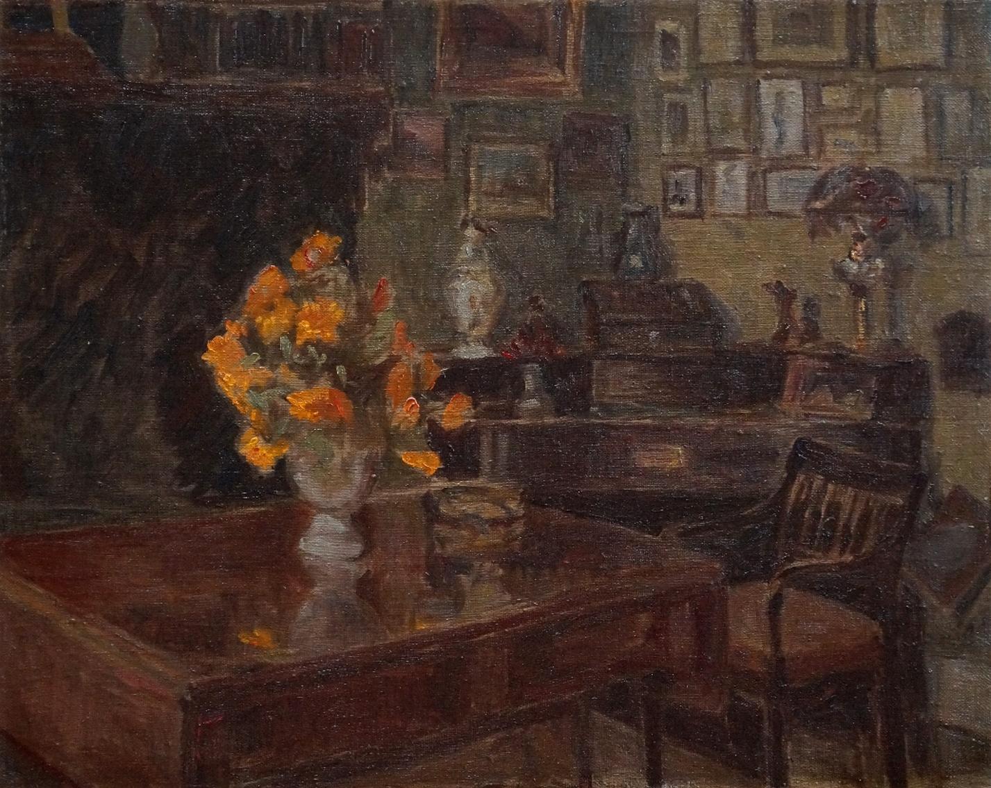 Maler um 1900 » Öl-Gemälde Impressionismus Blumen Interieur