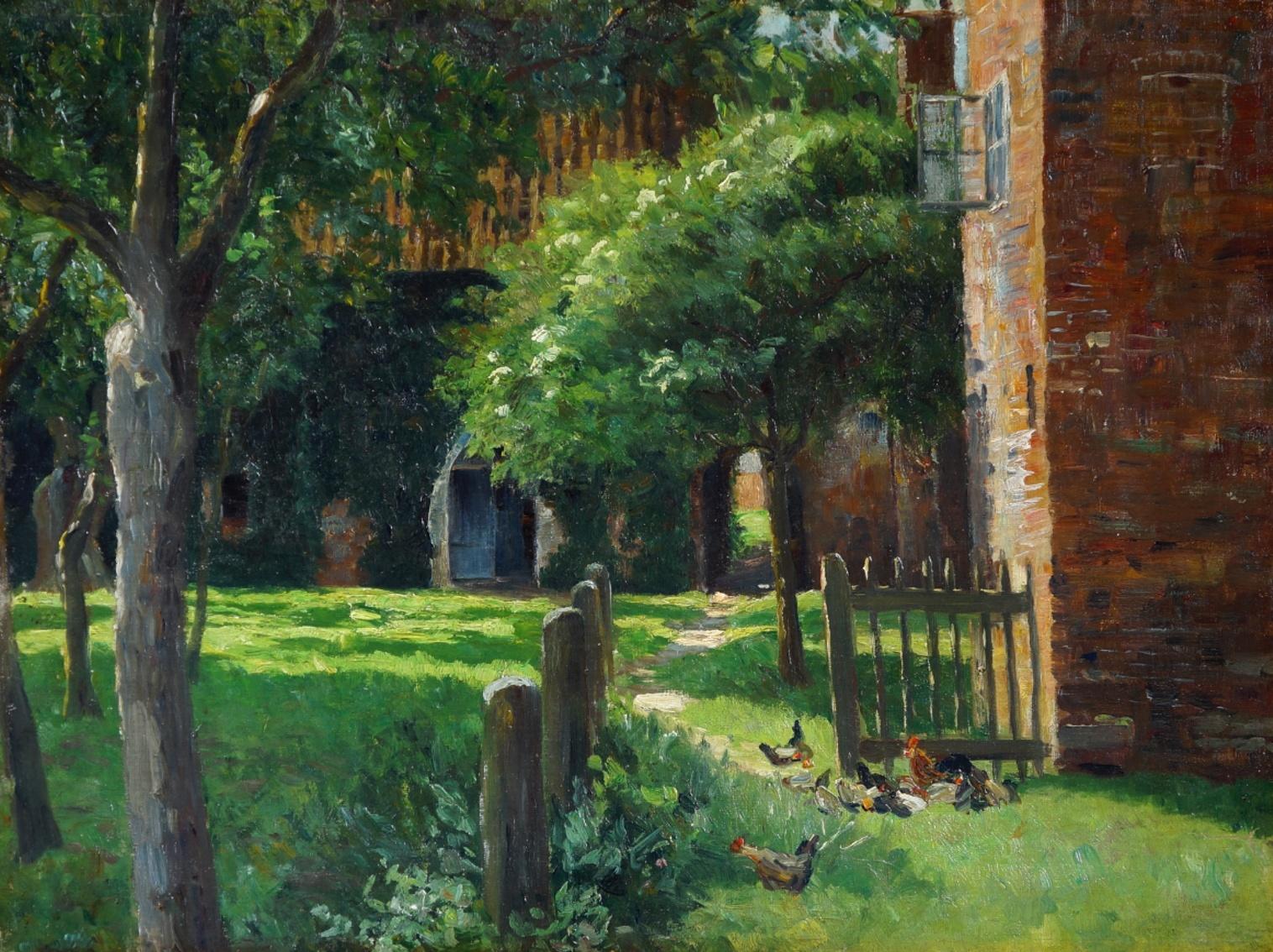 Maler um 1900 » Öl-Gemälde Impressionismus Bauernhof norddeutsche Malerei