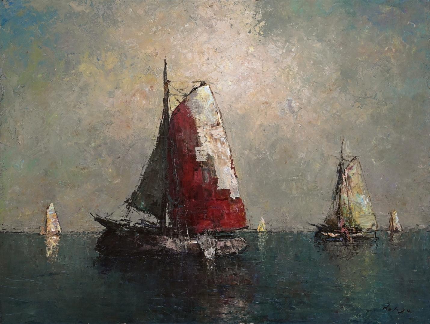 Helmut Kaluza (1912 - 1984) » Öl-Gemälde Spätimpressionismus Italien Meer italienische Küstenlandschaft