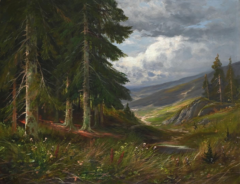 Arthur Bell (1876 - 1966) » Öl-Gemälde Naturalismus Wald Landschaft Düsseldorfer Malerschule