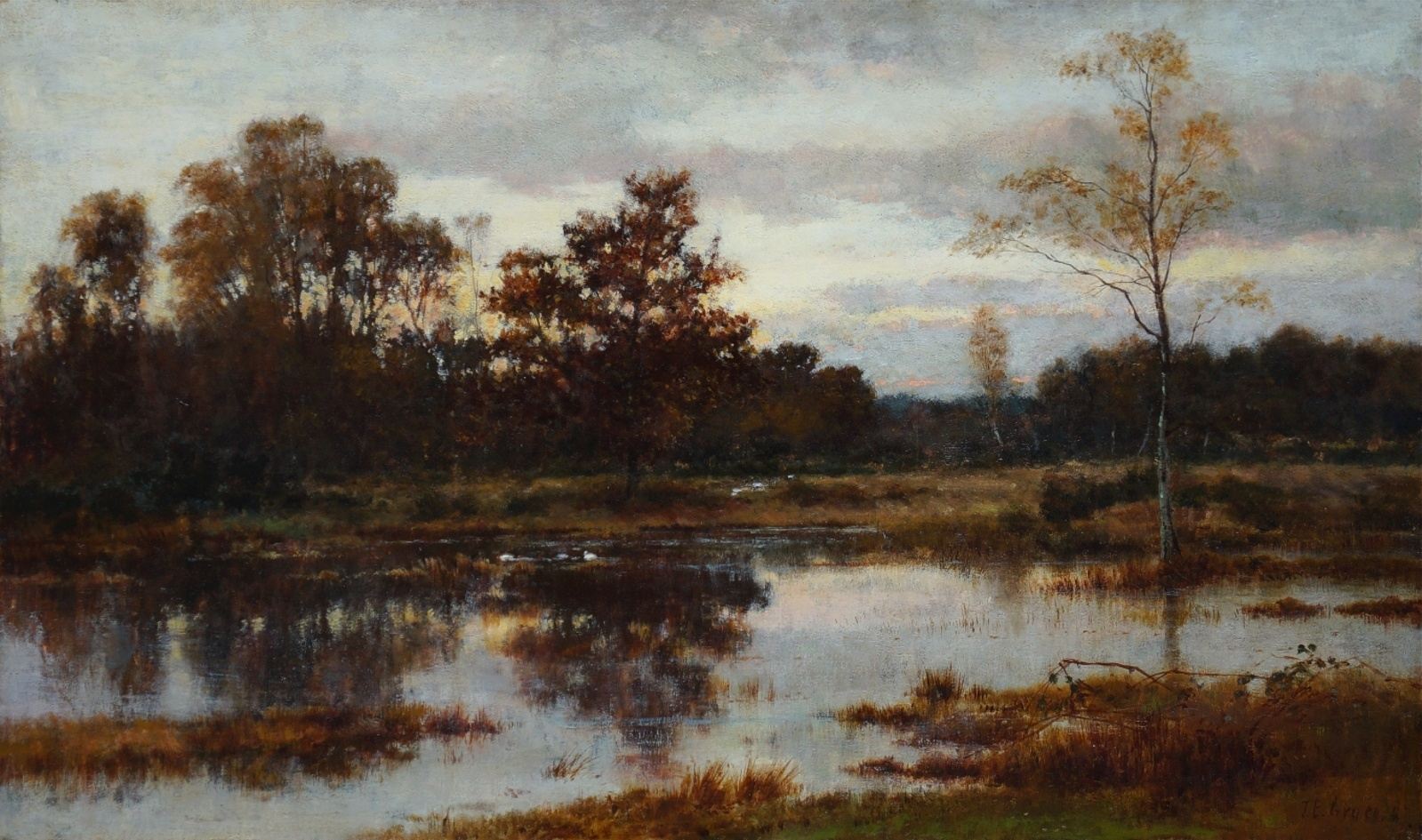 James Edward Grace (1851 - 1908) » Öl-Gemälde Realismus Wald Landschaft englische Schule