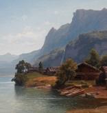 Carl Jungheim (1830 - 1886) » Öl-Gemälde Spätromantik Biedermeier Alpen Landschaft Düsseldorfer Malerschule