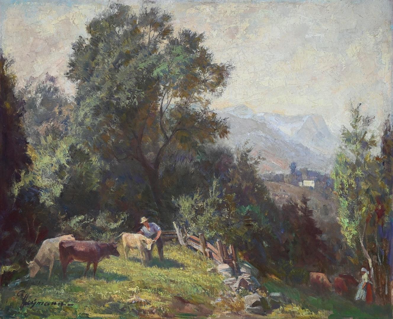 Richard Heymann (1900 - 1973) » Öl-Gemälde Impressionismus Bauern Kühe Alpen Süddeutsche Malerei