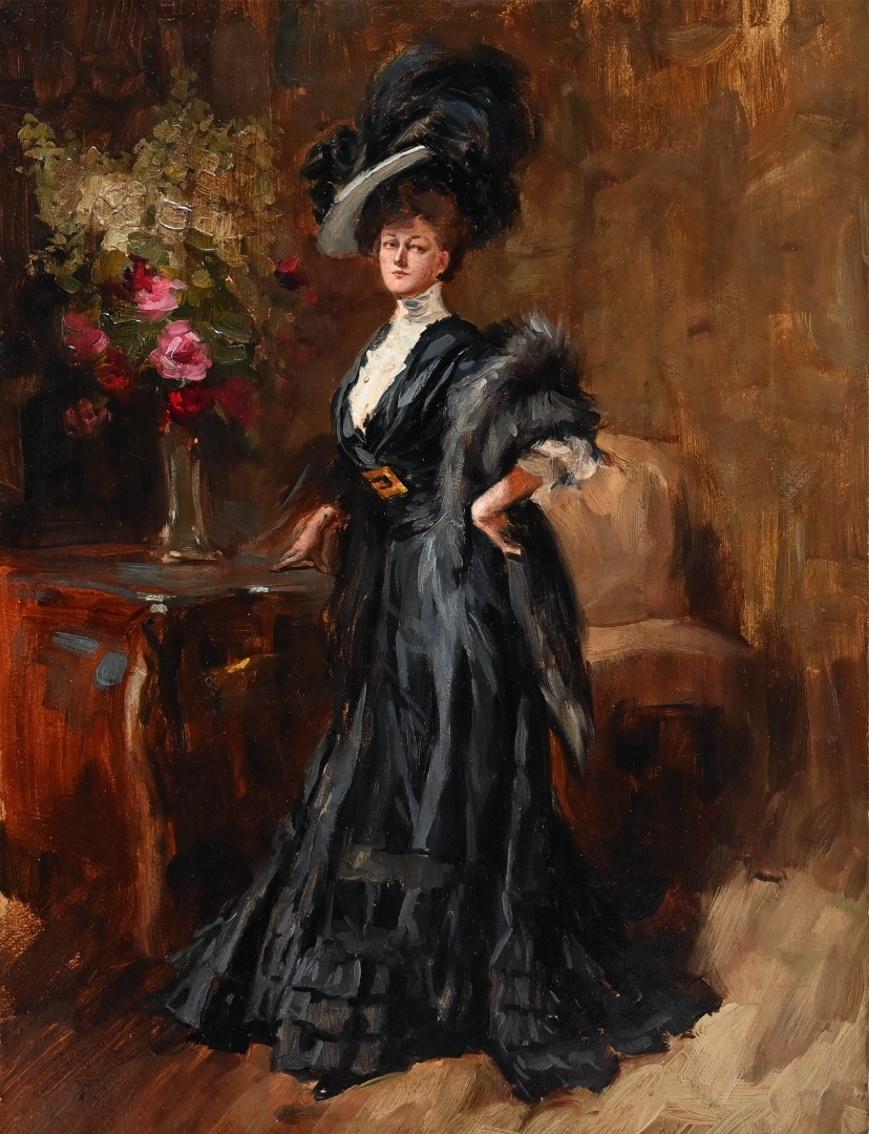 Albert von Keller (1844 - 1922) zugeschr. » Öl-Gemälde Belle Époque Genre Porträt Jugendstil Secession Münchner Malerschule