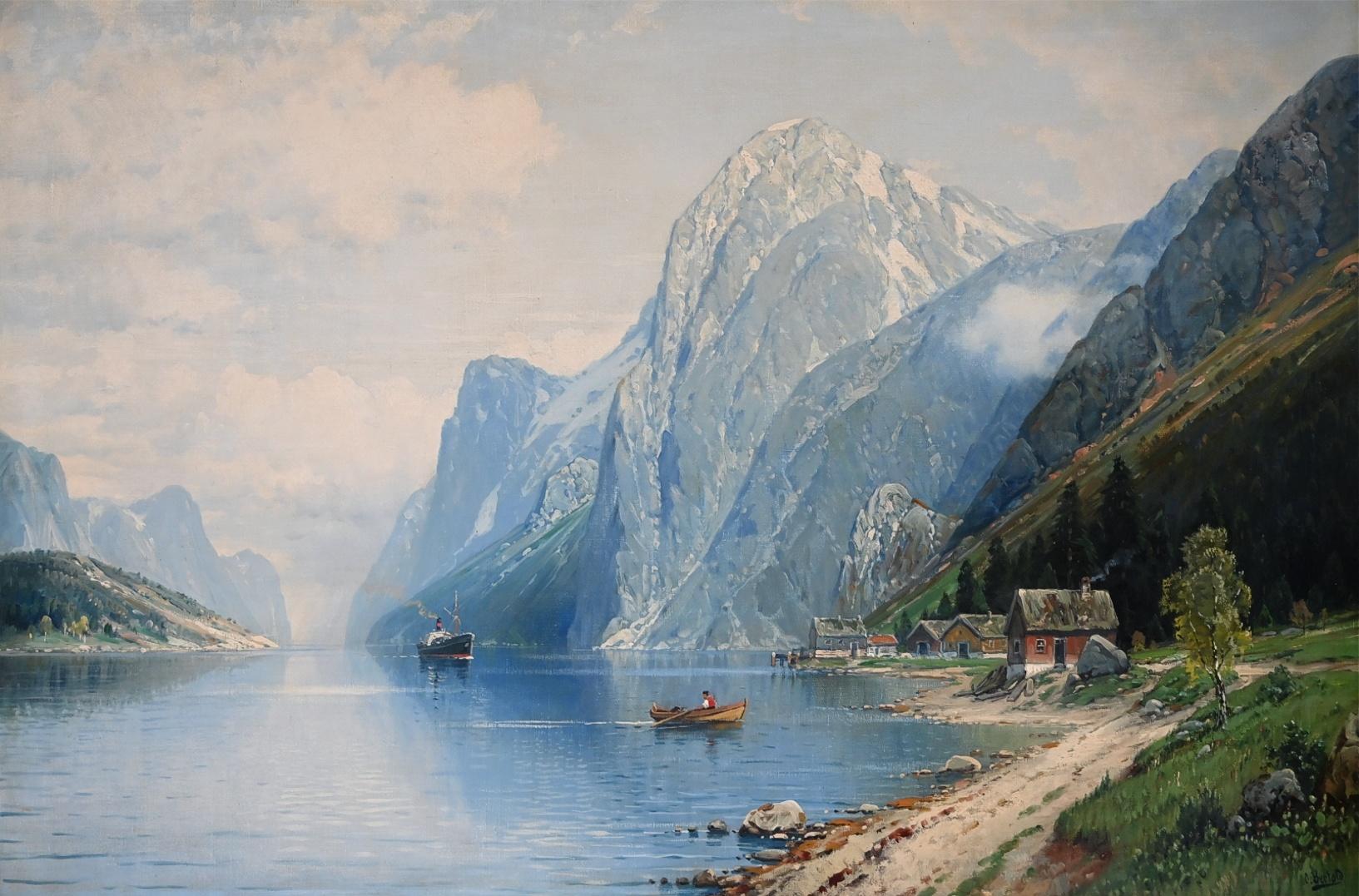 Carl Bertold (*1870) » Öl-Gemälde Meer norwegische Fjord Landschaft Düsseldorfer Malerschule