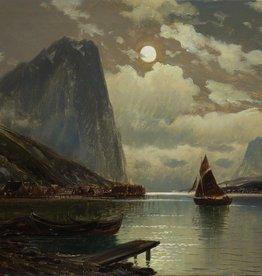 Carl Bertold (*1870) » Öl-Gemälde Meer norwegische Fjord Mond Nacht Landschaft Düsseldorfer Malerschule