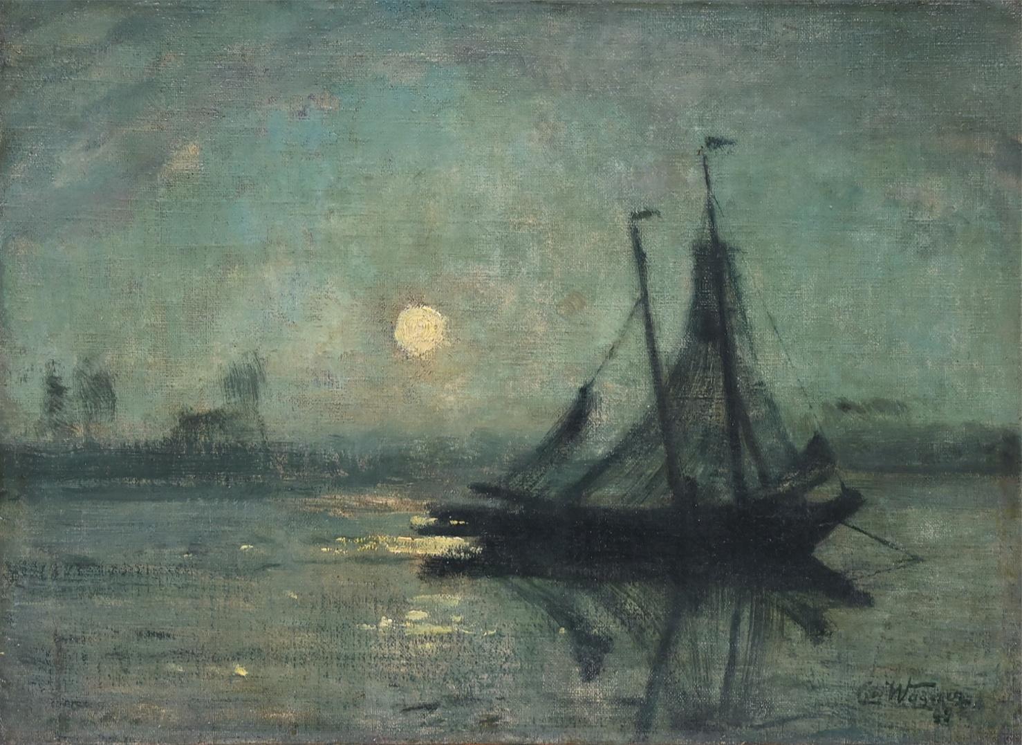 Cornelius Wagner (1870 - 1956) » Öl-Gemälde Impressionismus Landschaft Mond Nacht Düsseldorfer Malerschule