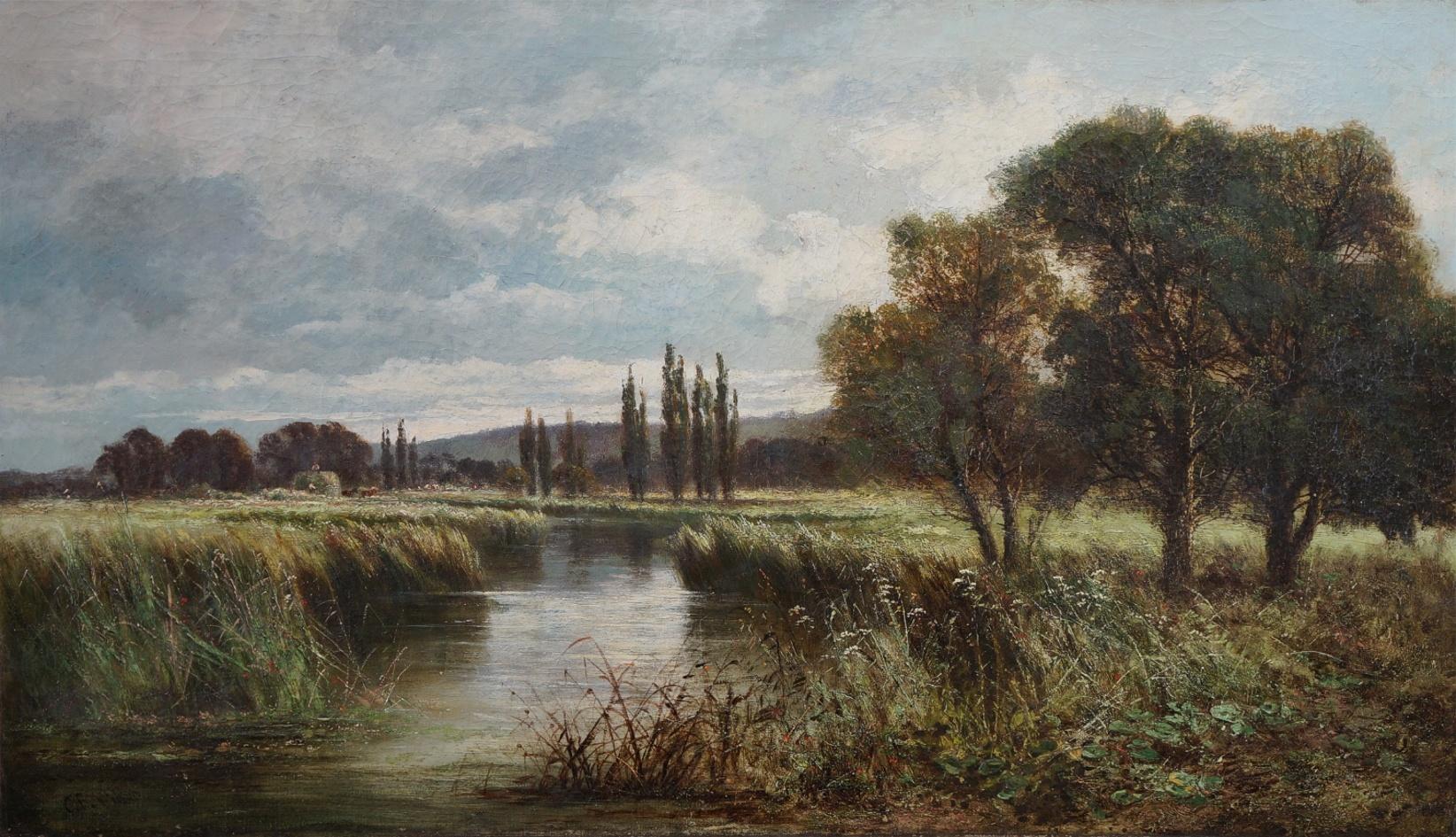 Maler des 19. Jahrhunderts » Öl-Gemälde Spätromantik Realismus Ernte Landschaft englische Schule