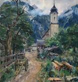 August Herzog (1885 - 1959) » Öl-Gemälde Impressionismus Alpen Bergdorf Landschaft