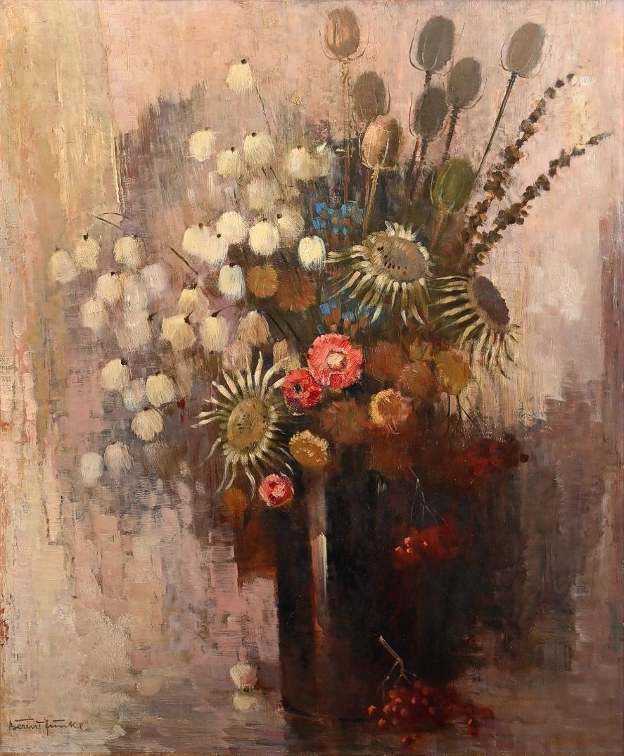 Bernd Funke (1902 - 1988) » Öl-Gemälde Impressionismus Klassische Moderne Blumen Stillleben