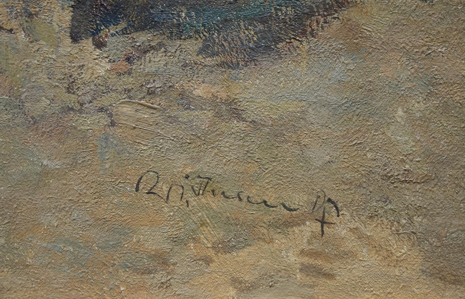 Wilhelm Thelen (1917 - 1985) » Öl-Gemälde Impressionismus Italien Meer italienische Küstenlandschaft Düsseldorfer Maler