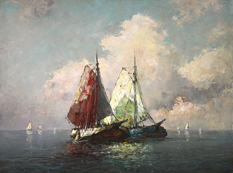 Helmut Kaluza (1912 - 1984) » Öl-Gemälde Spätimpressionismus Italien Meer Küstenlandschaft