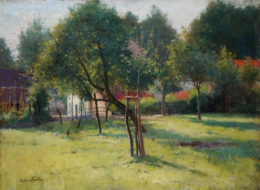 """Herman Hartwich (1853 - 1926) » Gemälde """"Obstgarten mit Hühnern"""""""