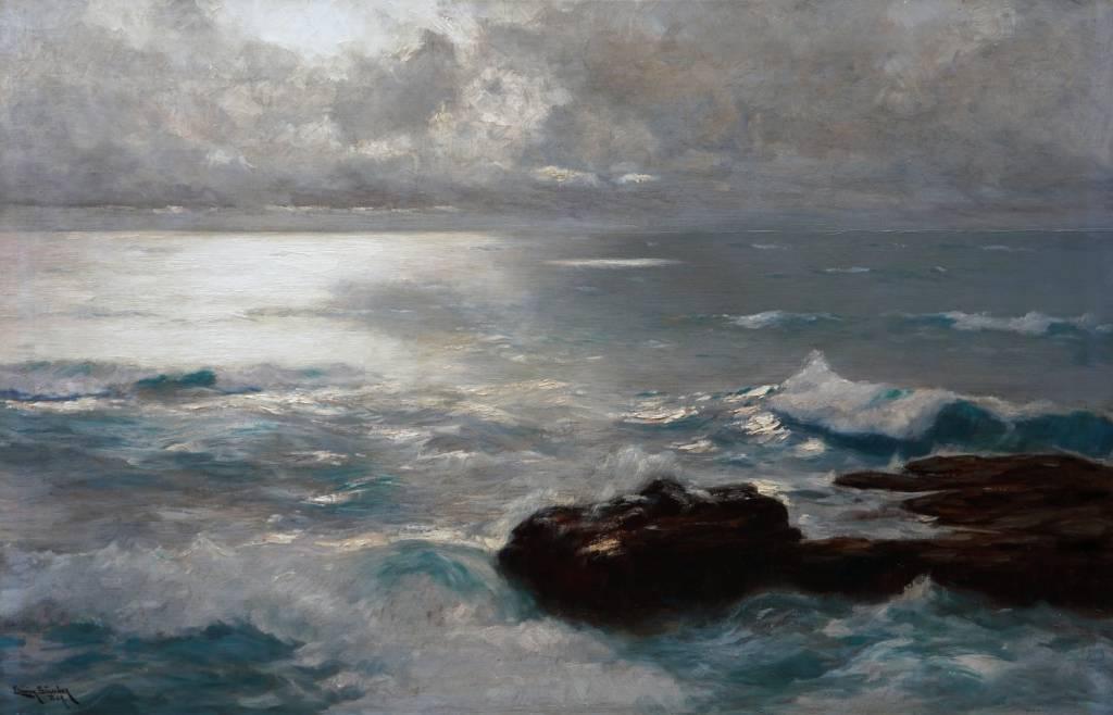 Erwin Günter (Günther) (1864 - 1927) » Öl-Gemälde Impressionismus Meer Küstenlandschaft Düsseldorfer Malerschule