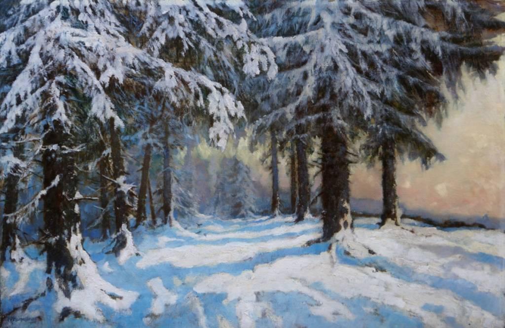 Rudolf Hermanns (1860 - 1935) » Öl-Gemälde Impressionismus Winter Landschaft
