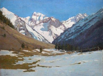 Lonny von Plänckner (1863 - c.1925) » Öl-Gemälde Winter Landschaft Naturalismus süddeutsche Malerei