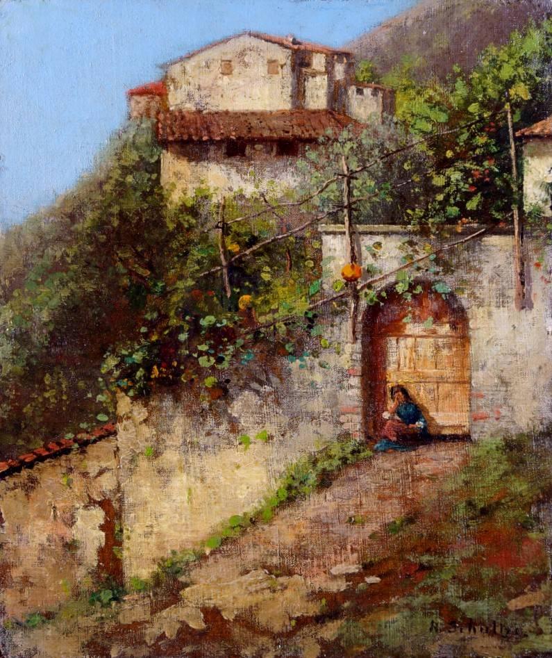 Robert Schultze (1828 - 1910) » Öl-Gemälde Italien italienische Landschaft Düsseldorfer Malerschule