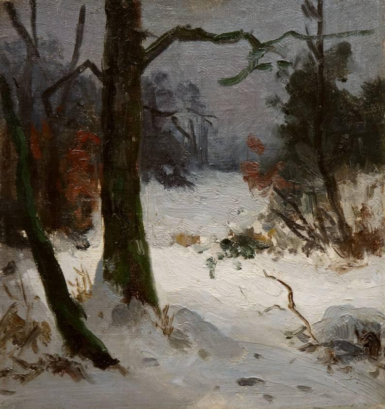 Arthur Thiele (1841 - 1919) » Öl-Gemälde Impressionismus Winter Landschaft Münchner Malerschule