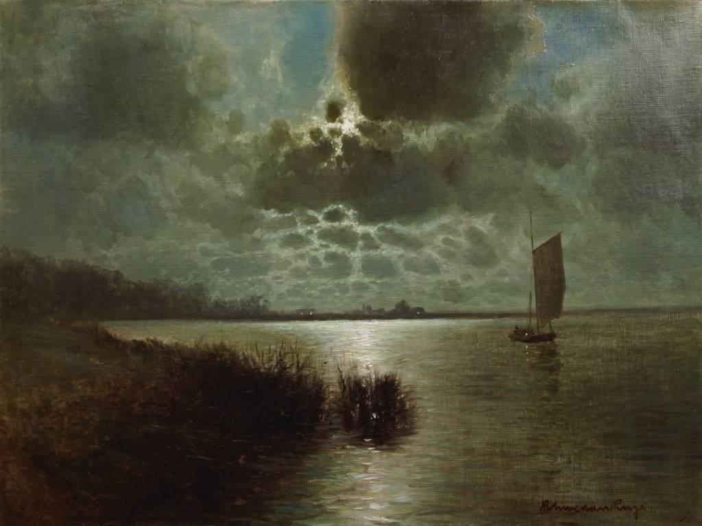 Karl Rohwedder-Ruge (1865 - 1940) » Öl-Gemälde Impressionismus Meer Mond nächtliche Küstenlandschaft Hamburger Maler norddeutsche Malerei