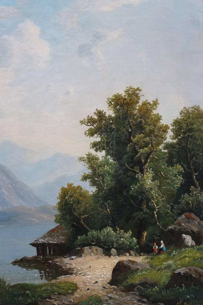 M. Dohmen (Maler des 19. Jahrhunderts) » Öl-Gemälde Spätromantik Biedermeier Landschaft
