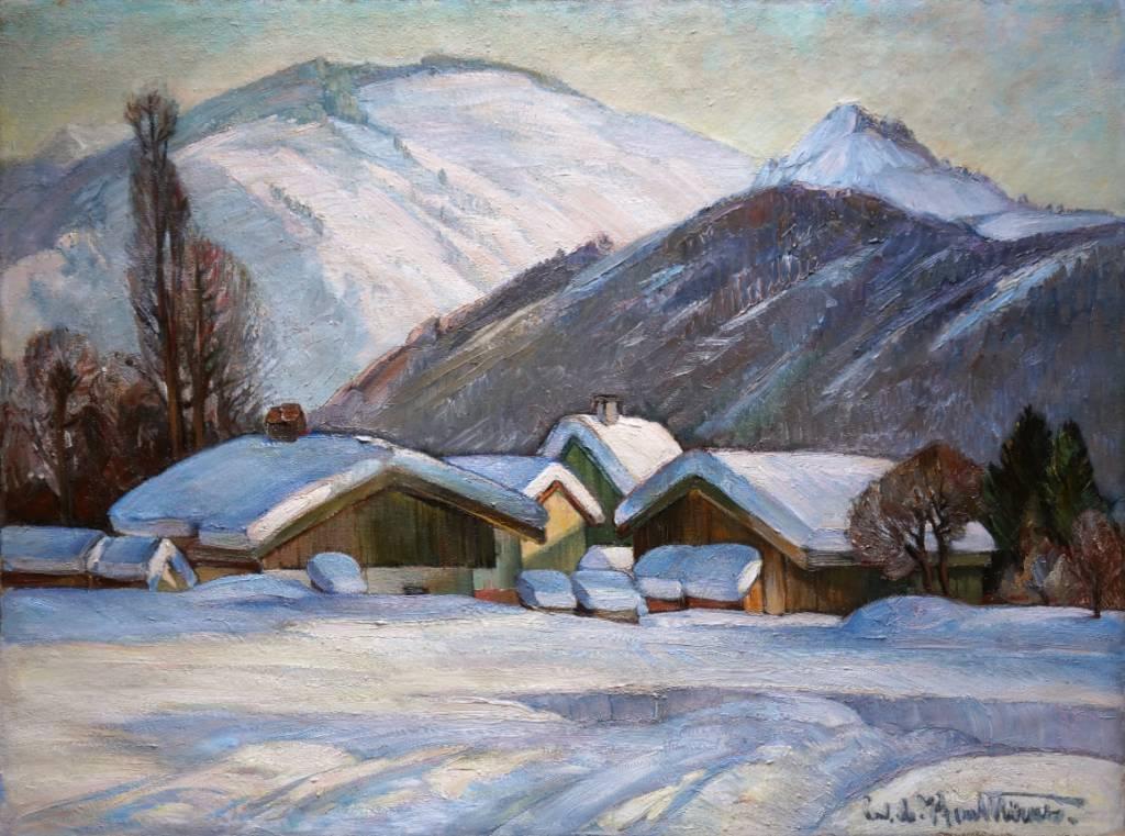 Carl Adolf Korthaus (1879 - 1956) » Öl-Gemälde Postimpressionismus Winter Landschaft
