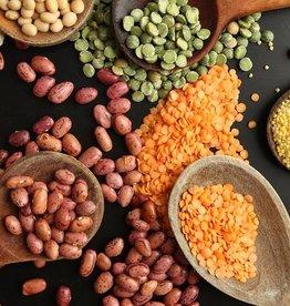 Bruine bonen, aardappeltjes met spek & salade