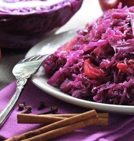 Ovenschotel rode kool, draadjesvlees en puree