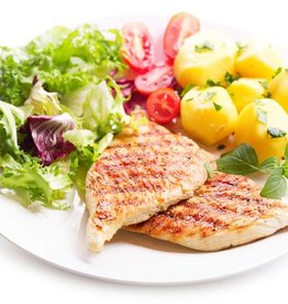 Kipschnitzel,  slasoorten & aardappeltjes