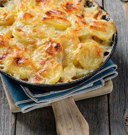 Aardappelgratin met spinazie, kaas & paddestoelen V)