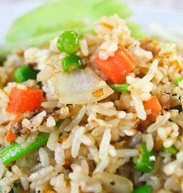Nasi met groenten & kipsate in satesaus